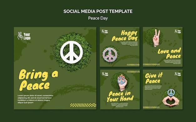 Kolekcja postów na instagramie na światowy dzień pokoju
