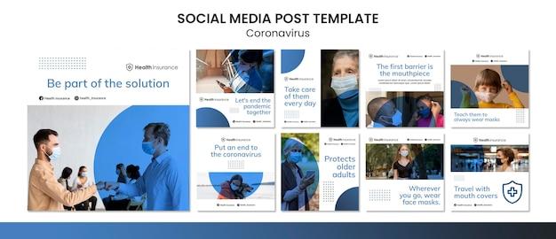 Kolekcja postów na instagramie na temat pandemii koronawirusa z maską medyczną