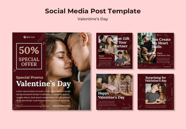 Kolekcja postów na instagramie na walentynki z romantyczną parą