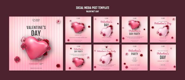 Kolekcja postów na instagramie na walentynki z sercem i czerwonymi różami