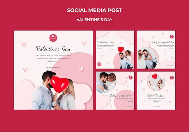 Kolekcja postów na instagramie na walentynki z zakochaną parą