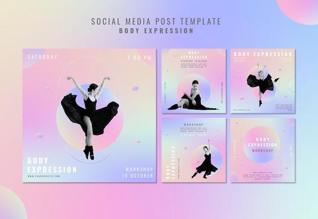 Kolekcja postów na instagramie na warsztaty ekspresji ciała