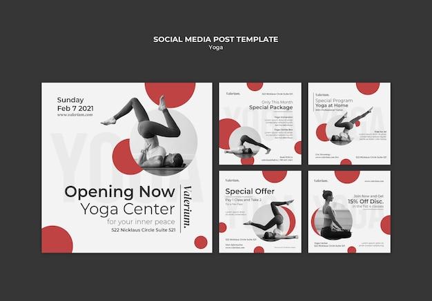 Kolekcja postów na instagramie na zajęcia jogi z instruktorką
