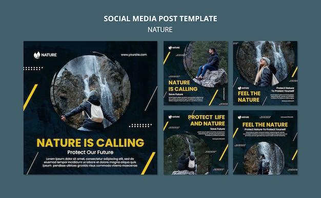 Kolekcja postów na instagramie w celu ochrony i zachowania przyrody