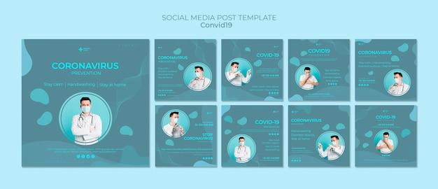 Kolekcja postów na instagramie w celu zapobiegania koronawirusom