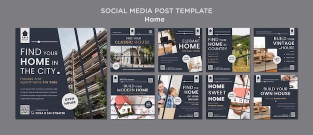 Kolekcja postów na instagramie w celu znalezienia idealnego domu