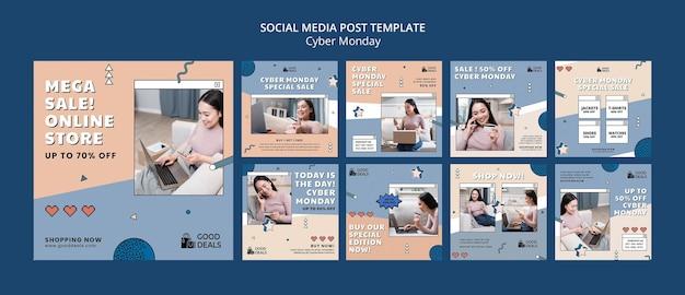 Kolekcja postów na instagramie w cyberponiedziałek