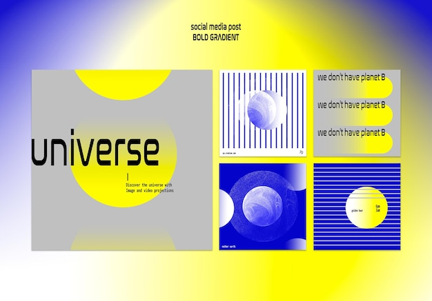 Kolekcja postów na instagramie w pogrubionym gradiencie z planetą i nauką