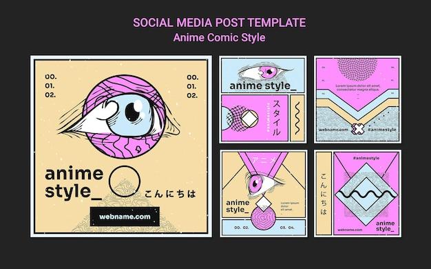 Kolekcja postów na instagramie w stylu komiksowym anime