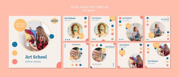 Kolekcja postów na instagramie w szkole artystycznej