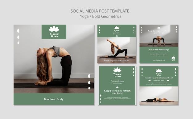 Kolekcja postów na instagramie z kobietą uprawiającą jogę