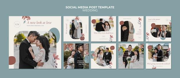Kolekcja postów na instagramie z kwiatowym ślubem