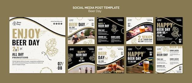 Kolekcja postów na instagramie z okazji dnia piwa