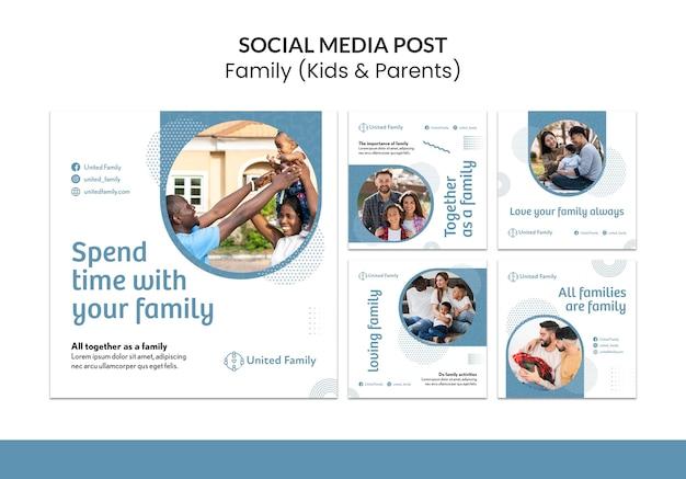 Kolekcja postów na instagramie z rodziną i dziećmi