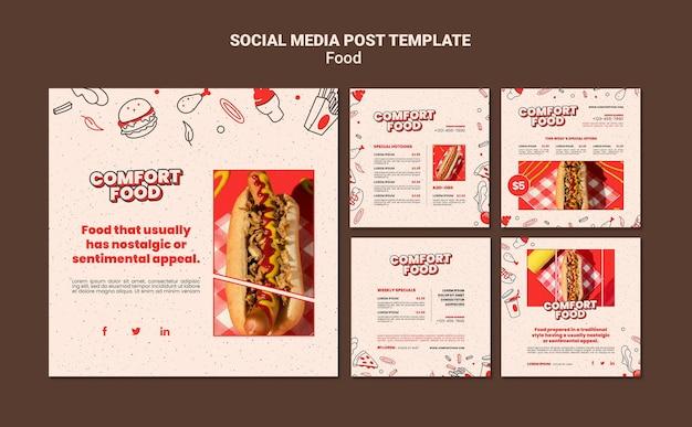 Kolekcja postów na instagramie z wygodnymi hot dogami