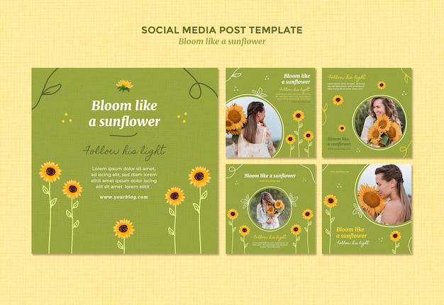 Kolekcja postów na instagramie ze słonecznikami i kobietą