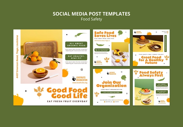 Kolekcja postów w mediach społecznościowych dotyczących bezpieczeństwa żywności