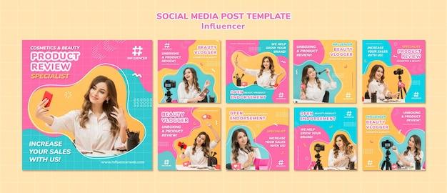 Kolekcja postów w mediach społecznościowych influencer