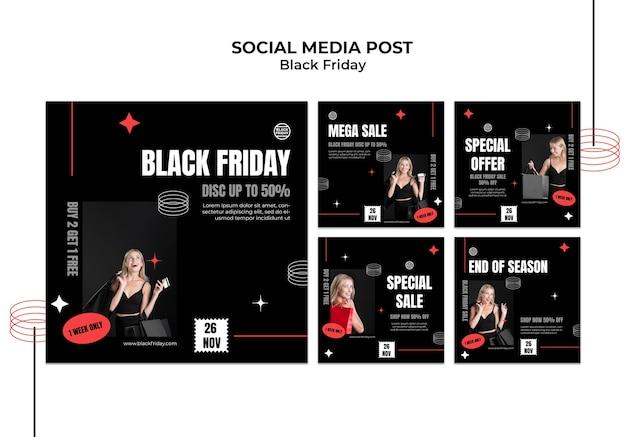 Kolekcja postów w mediach społecznościowych w czarny piątek