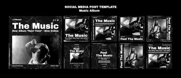 Kolekcja postów w mediach społecznościowych z albumem muzycznym
