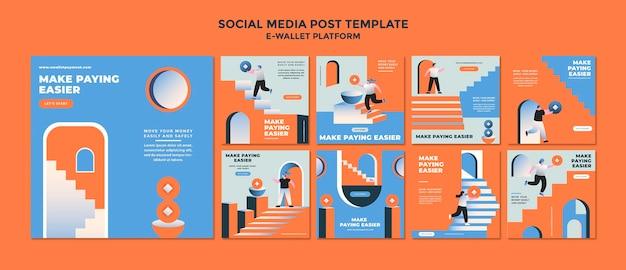 Kolekcja postów w mediach społecznościowych z aplikacji e-portfel