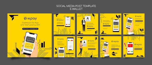 Kolekcja postów w mediach społecznościowych z e-portfela