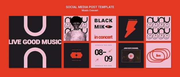 Kolekcja postów w mediach społecznościowych z koncertu muzycznego