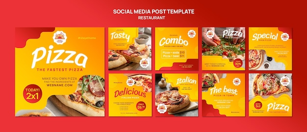 Kolekcja postów w pizzerii w mediach społecznościowych
