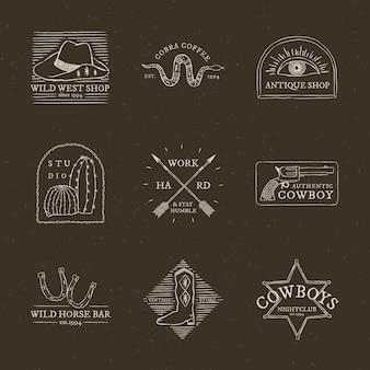 Kolekcja psd z logo w stylu kowboja