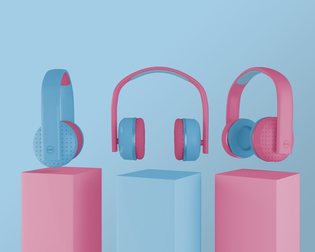 Kolekcja słuchawek z lat 80