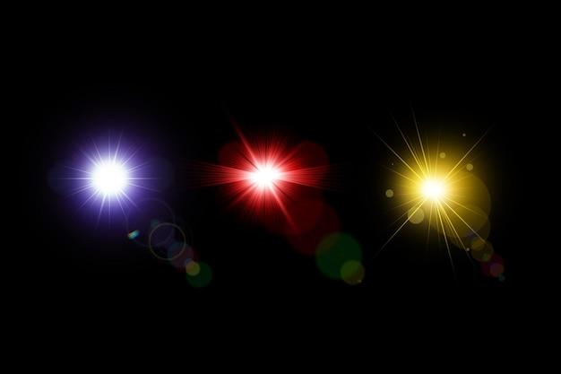 Kolekcja świecących soczewek, zestaw flar