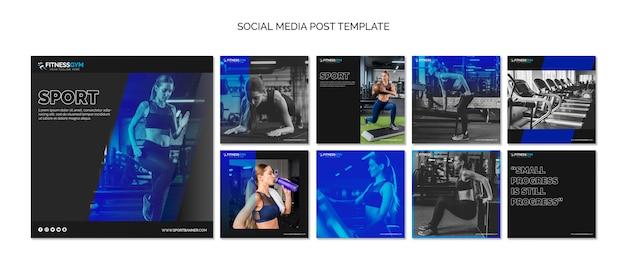 Kolekcja szablon kwadratowy post z koncepcją fitness