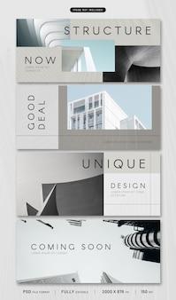 Kolekcja szablonów banner architektury psd