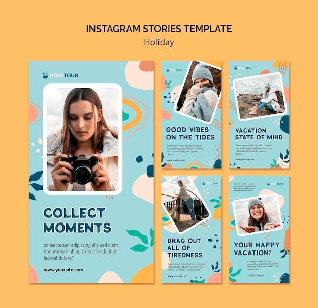 Kolekcja szablonów historii na instagramie wakacje