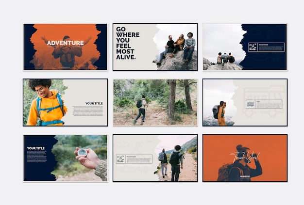 Kolekcja szablonów kart z koncepcją przygody