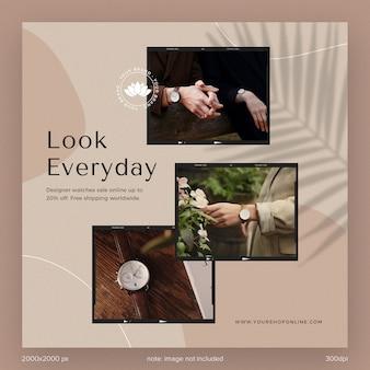 Kolekcja szablonów postów w mediach społecznościowych instagramowe reklamy katalogów mody dla marki z cieniem liści i estetyczną linią kształtu