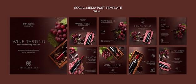 Kolekcja wpisów na instagramie do degustacji wina