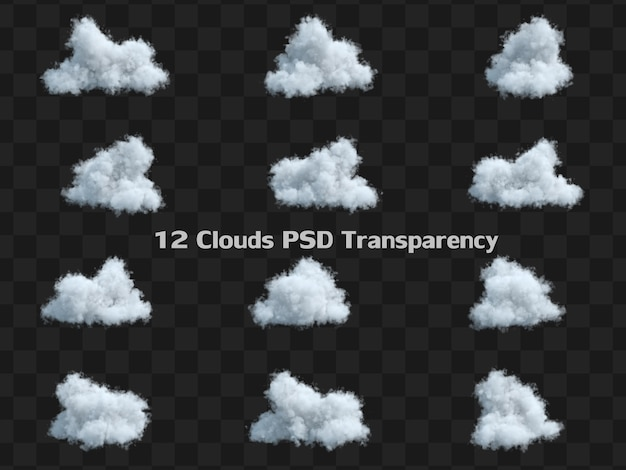 Kolekcja zestaw biały puszysty cumulus chmura na białym tle