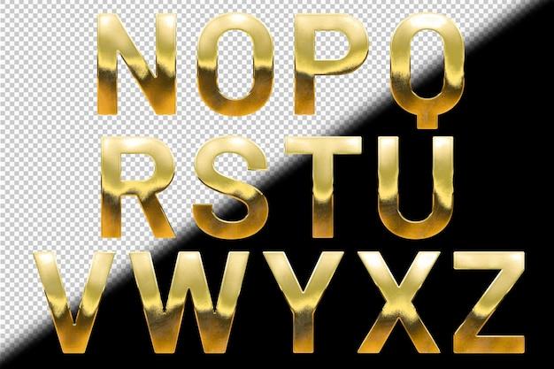Kolekcja złotych liter od n do z
