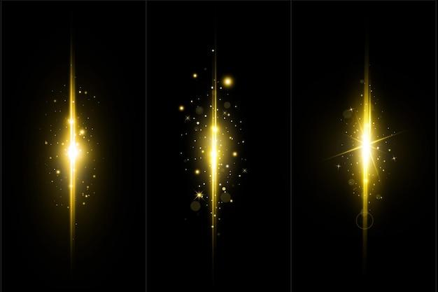 Kolekcja złotych świecących świateł soczewkowych zestaw złotych race.