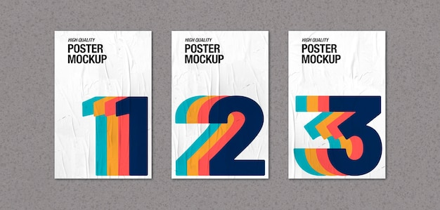 Kolekcja zmiętych plakatów na makieta betonowej ściany