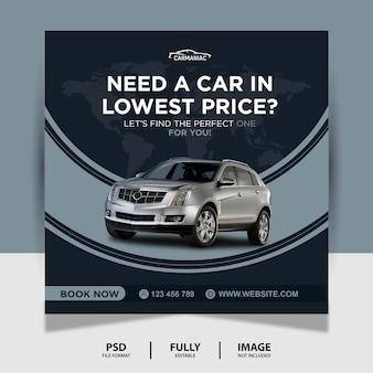 Kolor ciemnoszary wypożycz samochód social media post banner