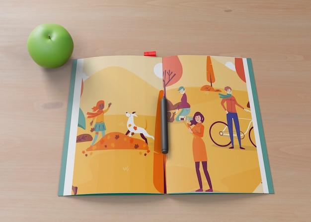 Kolorowa i artystyczna farba z jabłkiem obok