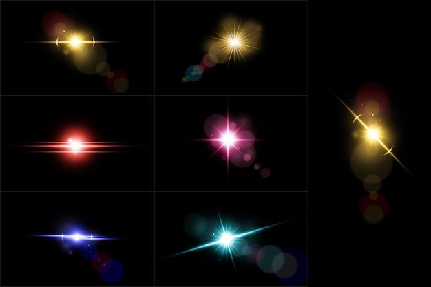 Kolorowa kolekcja flary obiektywu realistyczny zestaw oświetlenia obiektywu