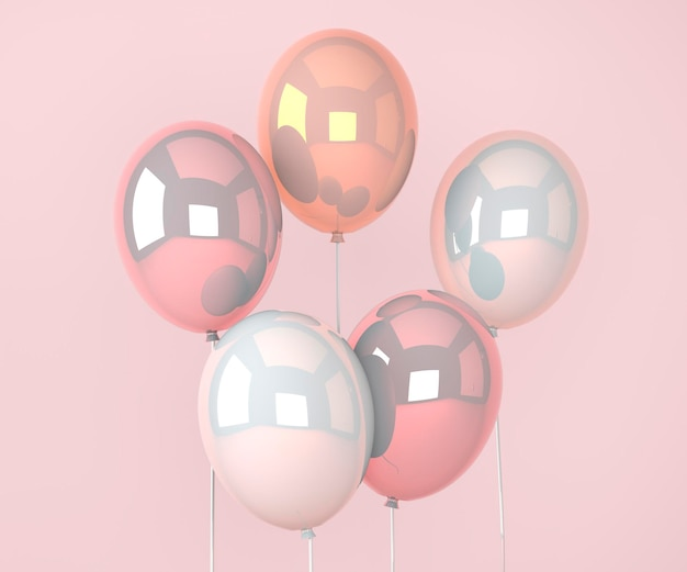 Kolorowe balony latające na urodziny i uroczystości. render 3d na urodziny, imprezę, banery. ilustracja 3d.