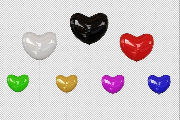Kolorowe balony serce na białym tle