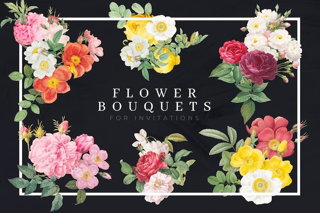 Kolorowe bukiety kwiatów i róż