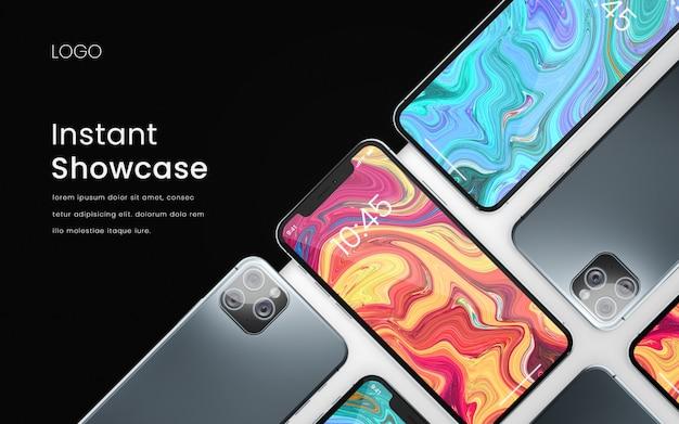 Kolorowe ekrany na nowoczesnym czarno-białym telefonie.