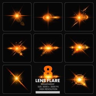 Kolorowe flary obiektywu zestaw świateł obiektywu kolekcja premium psd