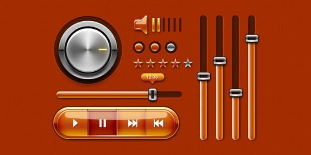 Kolorowe ikony odtwarzacza muzyki dla projektu www